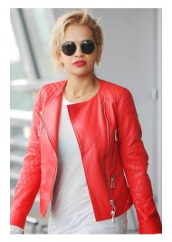Singer Rita Ora Red Leather Jacket