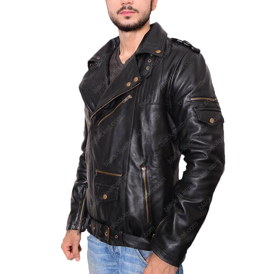Black Leather Jacket Mens Biker | Asymmetric Style Slim Fit Jacket
