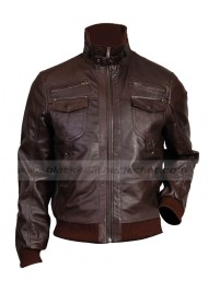 Slim Fit Bomber Dark Brown Leather Jacket Mens