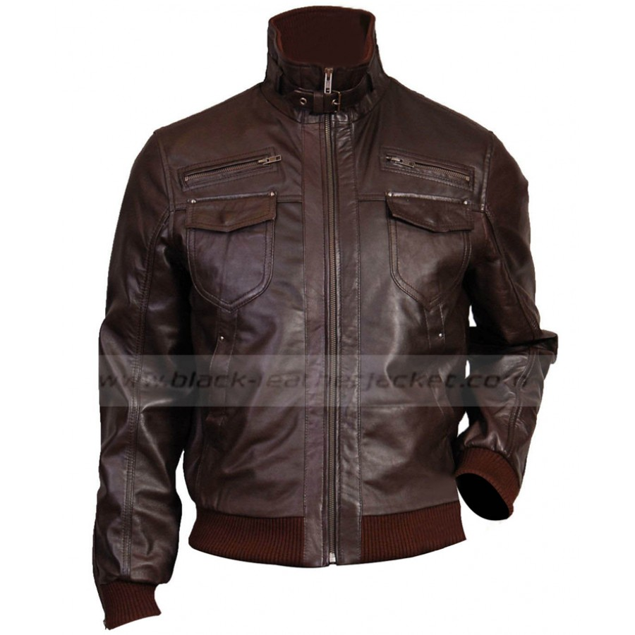 Dark Brown Leather Jacket Mens | Slim Fit Bomber Jacket for Men