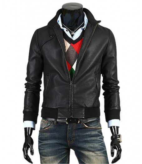 Slim Fit Bomber Trendy Vintage Leather Jacket