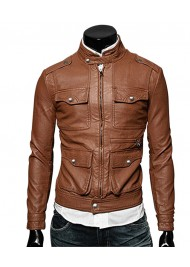 Slim Fit Mens Brown Faux Leather Biker Zip Up Jacket