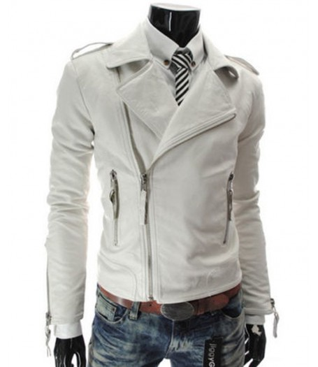 Fashion Slim Fit Casual Mens Faux White Leather Jacket