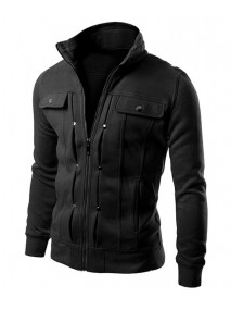 Mens Casual Slim Fit Cotton Zip Up High Neck Jacket