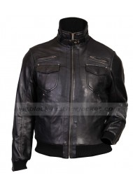 Front Pocket Style Slim Fit Mens Black Leather Bomber Jacket