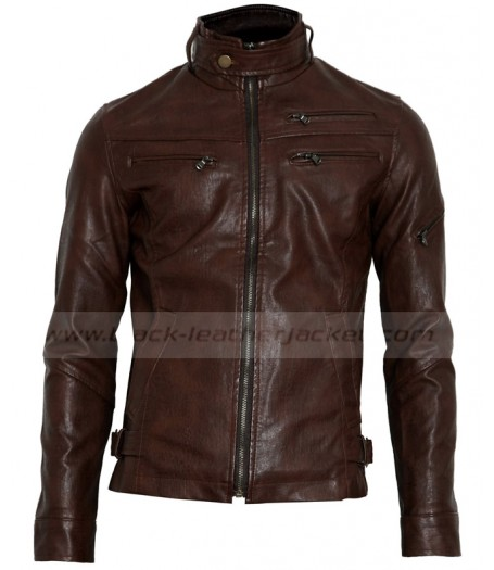 Mens Slim Fit Biker Brown Faux Leather Jacket