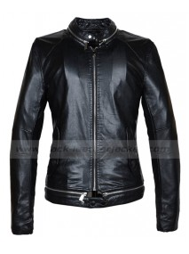Mens Slim Fit Fashionable Black Leather Motorcycle Jacket