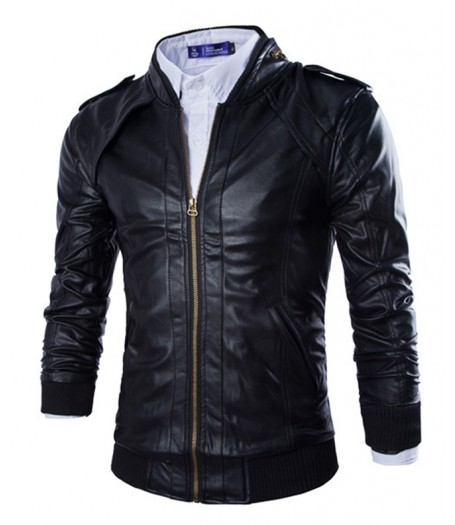 Men's Slim Fit Stylish Black Faux Leather Biker Jacket