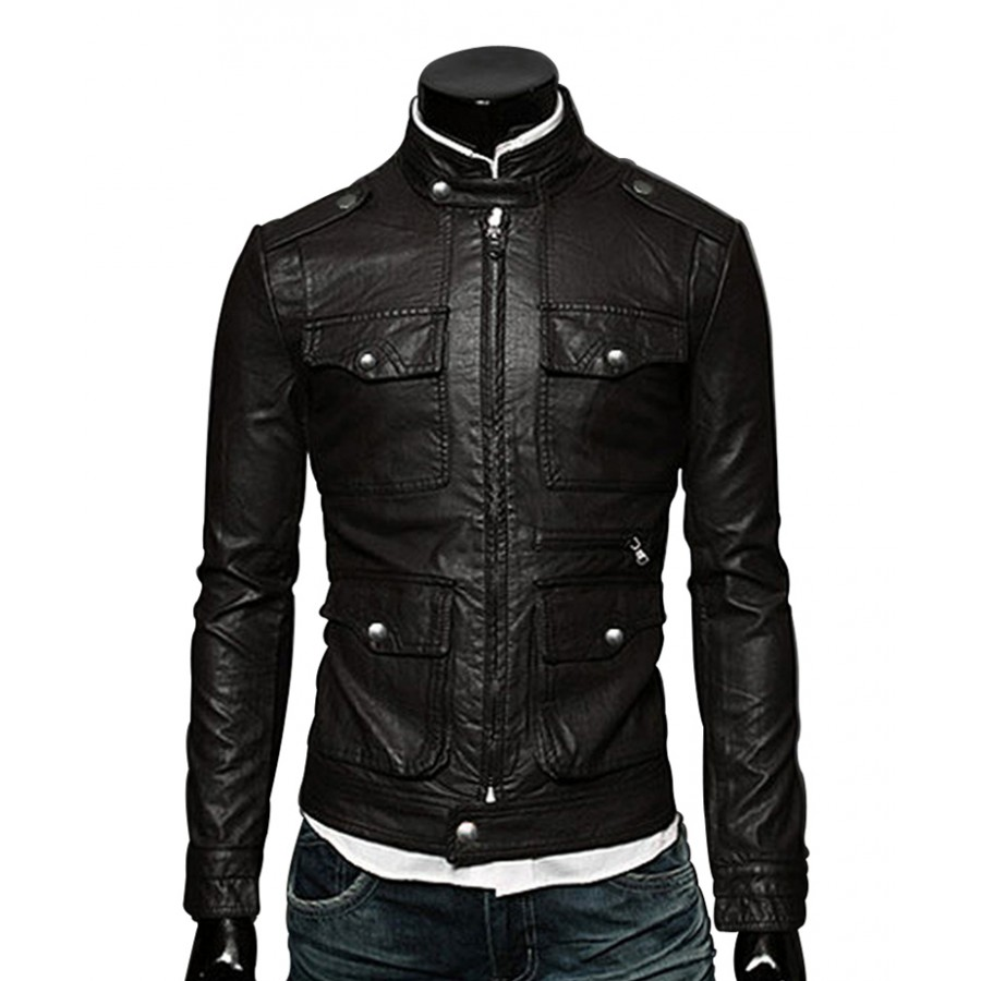 d5f2b8458 Mens Zip Up Multi Pocket Style Slim Fit Black Faux Leather Jacket