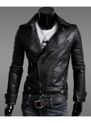 Mens Slim Fit Black Faux Leather Moto Jacket