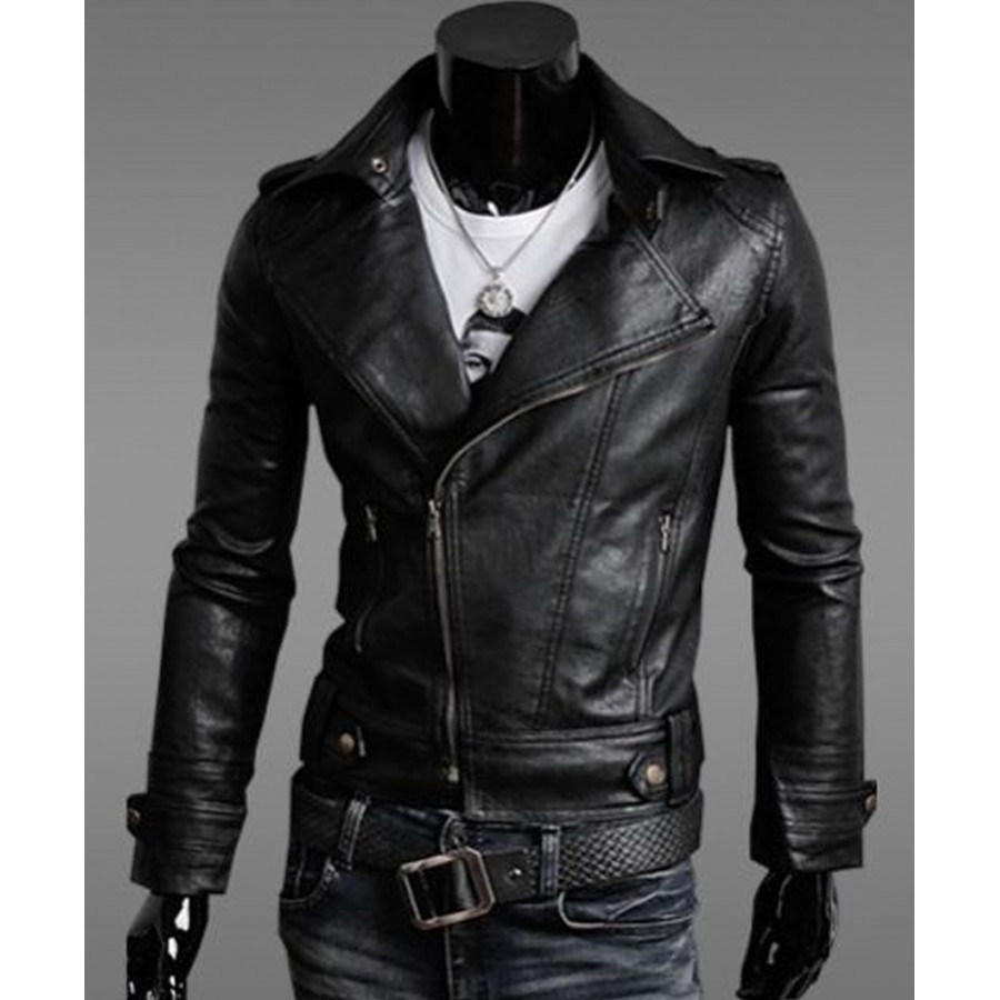 e1bd120b2 Mens Slim Fit Black Faux Leather Moto Jacket