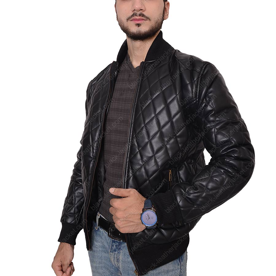 Slim Fit Style Zipper Quilted Black Leather Biker Jacket : quilted leather jacket mens - Adamdwight.com