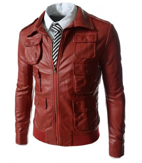 Mens Multi Pocket Style Slim Fit Red Faux Leather Jacket