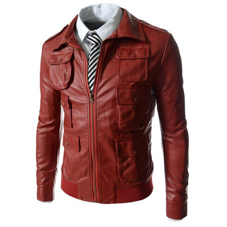4e3a32a8d18c6 ... Red Faux Leather Jacket · zoom · Mens ...