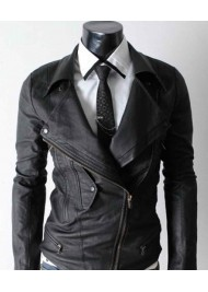 Slim Fit Multi Pocket Biker Black Leather Jacket
