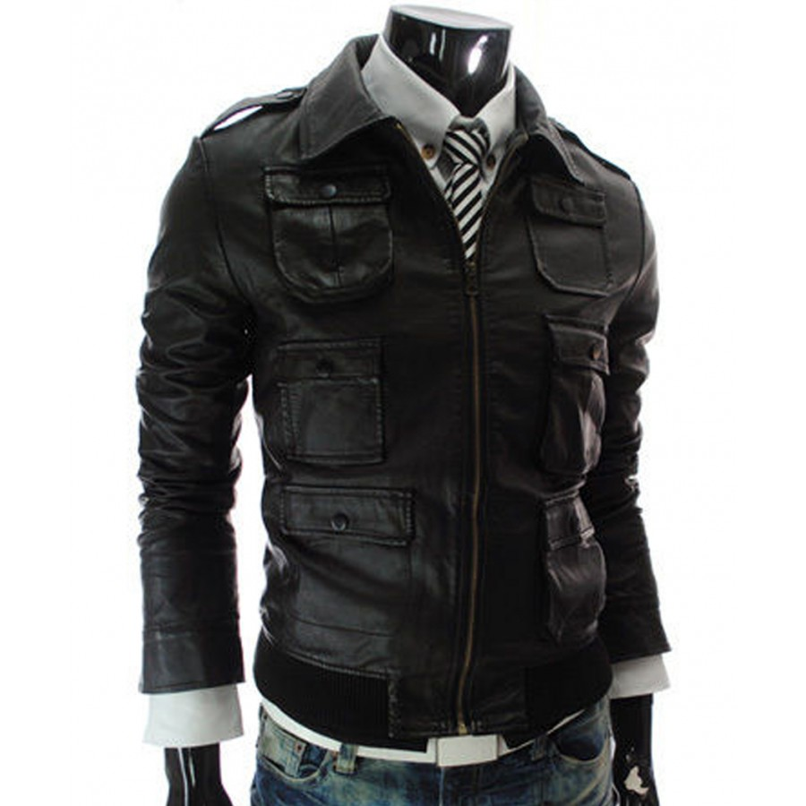 Mens Casual Faux Black Leather Jacket | Slim Fit Multi Pocket Jacket