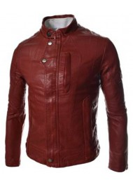 Slim Fit Red Faux Leather Jacket Mens