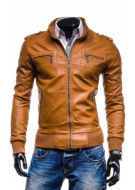 Men's New Fashion Casual Slim Fit Tan Brown Leather Jacket