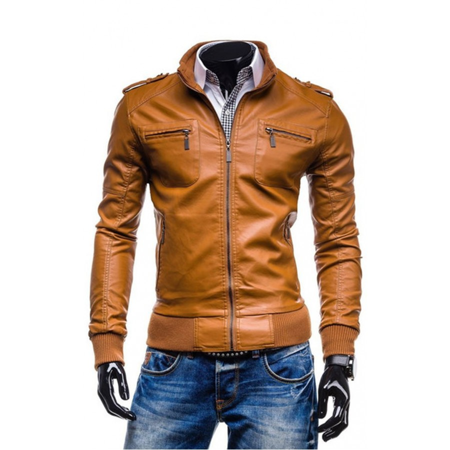 Men S New Fashion Casual Slim Fit Tan Brown Leather Jacket