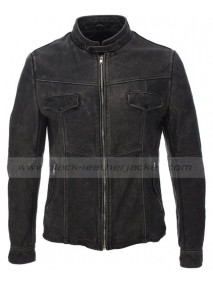 Mens Slim Fit Vintage Motorcycle Distressed Black Leather Jacket