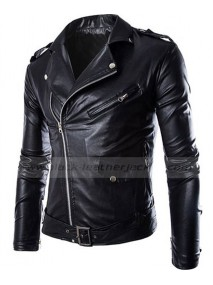 Mens Slim Fit Zip Up Black Faux Leather Moto Jacket