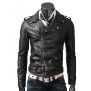 Slim Fitted Rider Leather Black Jacket
