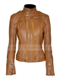 Womens Slim Fitted Tan Leather Jacket
