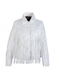Sloane Peterson White Leather Fringe Jacket