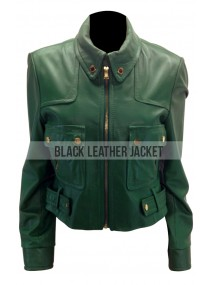 Allison Mack Smallville Chloe's Green Leather Jacket