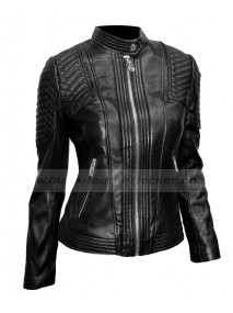 Snap Collar Womens Black Quilted Leather Moto Jacket