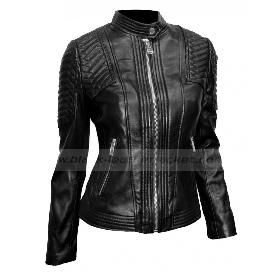 Womens Black Leather Moto Jacket | Ladies Quilted Jacket with Snap ...