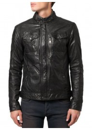Snap Tab Collar Soft Lambskin Black Leather Bomber Jacket