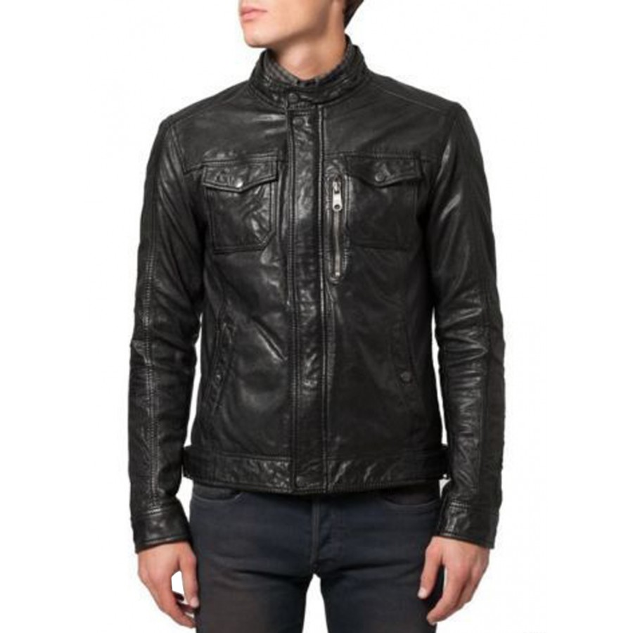 Tab Collar Soft Lambskin Black Leather Bomber Jacket