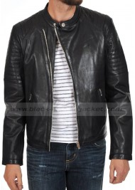 Snap Tab Collar Asymmetrical Style Black Leather Jacket
