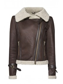 Squirrel Girl Brown Leather Shearling Jacket