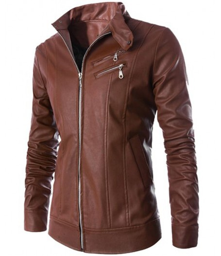 Stand Up Collar Slim Fit Brown Leather Biker Jacket