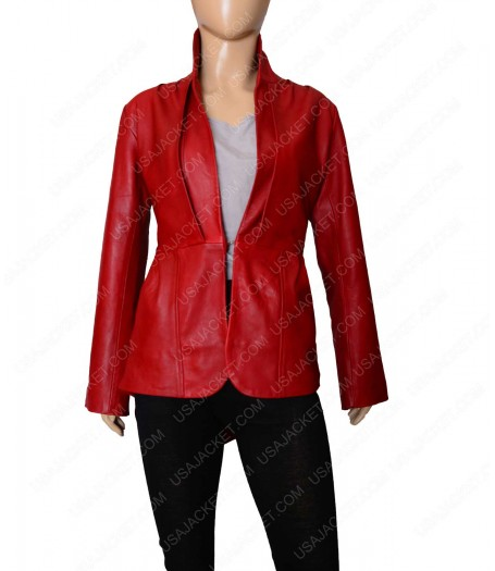 Stand Up Collar Designer Red Leather Jacket Women