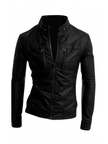 Mens Slim Fit Motorcycle Stand Up Collar Black Leather Jacket with Multi Pocket Style