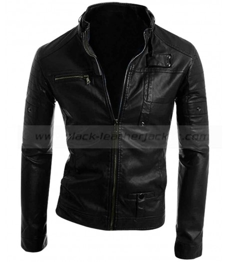 Stand Up Collar Slim Fit Mens Casual Black Leather Jacket