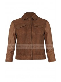 Aimee Teegarden Star-Crossed Brown Cropped Leather Jacket