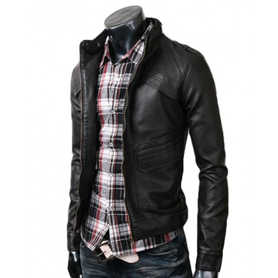Mens Black Biker Leather Jacket - Jacket
