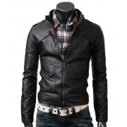 Strap Mens Slim Black Leather Biker Jacket