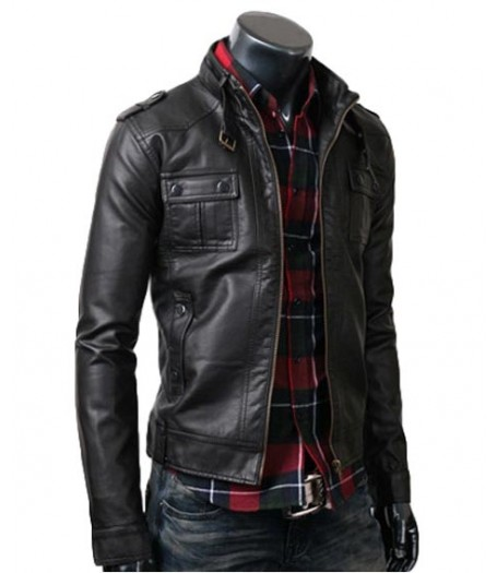Strap Pocket Biker Slim Black Leather Jacket for men