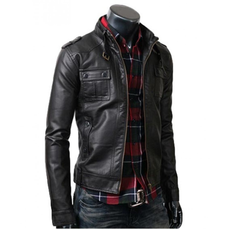 Strap Pocket Biker Slim Jacket | Black Leather Jacket for men