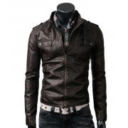 Strap Pocket Dark Brown Slim Style Mens Fitted Leather Jacket