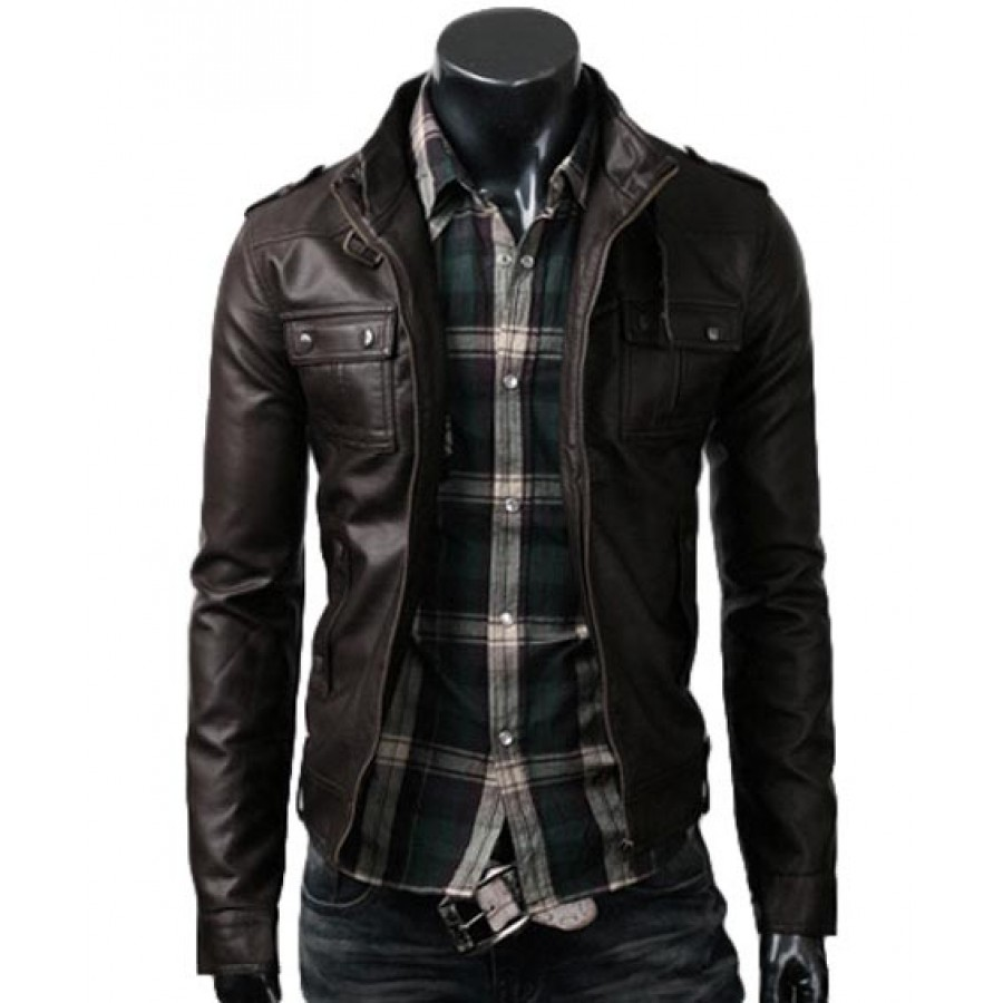 Strap Pocket Dark Brown Slim Jacket | Mens Fitted Leather Jacket