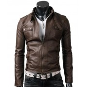 Strap Pocket Light Brown Slim Fitted Mens Biker Leather Jacket