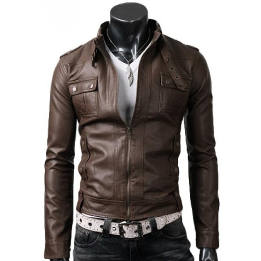Strap Pocket Light Brown Jacket | Slim Fitted Mens Biker Leather ...