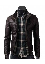 Strap Pocket Mens Dark Brown Leather Jacket