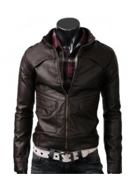 Strap Slim Fit Dark Leather Jacket Brown for men